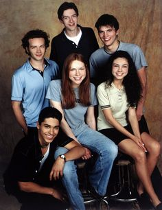 The original cast photo from That 70s Show. Fun fact 1: Mila Kunis was 14, having fibbed about her age when auditioning. Fun fact 2: It first aired in 1998, and was set in 1976. If it were created today, it would be That 90's Show and would be set in 1991. h/t Reddit