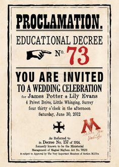 Harry potter themed wedding invitation. Love it!