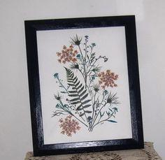 Floral, Pressed flower art in blues, 11x14, in blue wood frame