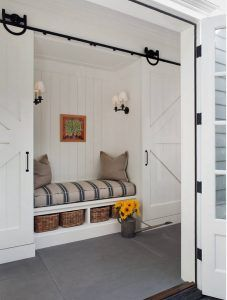 Mudroom with sliding barn doors. Farmhouse Mudroom Nook with slinding barn…