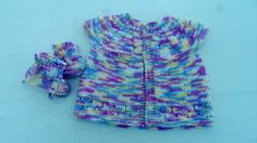 Baby sweater and Booties baby girl knitted top hand by JaminaRose