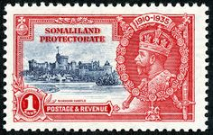 """1912 Scott 58 light blue & black """"George V"""" Quick History The Somaliland Protectorate (British Somaliland) bordered on the Gulf of A. Akrotiri And Dhekelia, King George V, British Overseas Territories, British Indian Ocean Territory, Pitcairn Islands, St Helena, Island Nations, Stamp Collecting, My Stamp"""