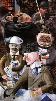 """The pillars of society"", by George Grosz Interesting symbolism. Teacup on head implies no brains. The New Objectivity artists are confronting all these terrible, uncomfortable things in reality to their viewers with rather clear and realistic forms. John Heartfield, Art Dégénéré, Dadaism Art, Ludwig Meidner, George Grosz, New Objectivity, Max Beckmann, Degenerate Art, Art History"