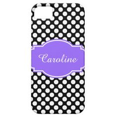 Cute Black & White Polka Dots iPhone Case, Personalize with your name on Lilac/White Label