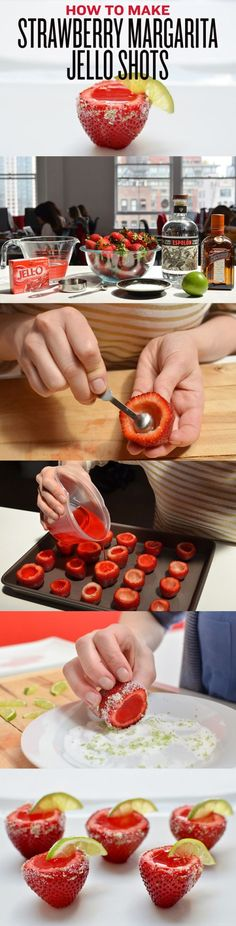 starwberry margarita jello shots in strawberries.