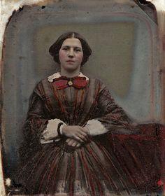 Red as the Rose, Handtinted English Ambrotype, Circa 1855 pre civil war era fashion