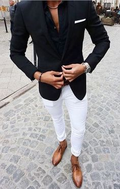 Custom Made Black Suits for Business Man Outfits Wedding Tuxedo White Pants Groom Wear Costume Homme Two Piece Slim Fit Terno Masculino Latest Mens Fashion, Mens Fashion Suits, Mens Suits, Fashion Sale, Fashion Outlet, Paris Fashion, Fashion Fashion, Runway Fashion, Fashion Boots