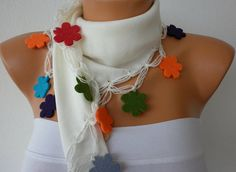 White Scarf   Pashmina Scarf  Headband Necklace Cowl by fatwoman, $19.00