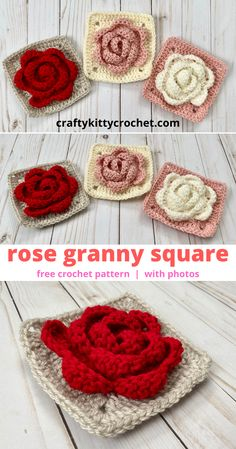 How to Crochet a Rose Granny Square - FREE Pattern! Roses are red, violets are . How to Crochet a Rose Granny Square – FREE Pattern! Roses are red, violets are blue–I love thi Granny Square Häkelanleitung, Granny Square Pattern Free, Crochet Blocks, Granny Square Crochet Pattern, Crochet Squares, Free Pattern, Square Blanket, Granny Granny, Granny Square Tutorial