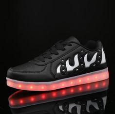 Zwart Lichtgevende Schoenen Vlammen Dames