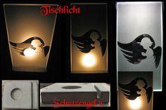 Krippe Tischlämpchen mit  Engel - Schutzengel von Kunst Glaserei auf DaWanda.com