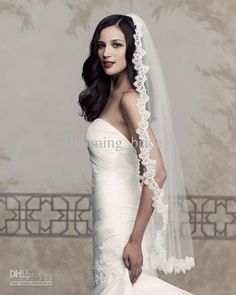 Wholesale Best Elegant Vintage Lace Trim Veils Mantilla Wedding Veils Bridal…
