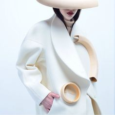 CURRENTLY OBSESSED with womenswear by Dan He / millinery by Jordan Byron Britton / jewellery by Suangshuang Wang