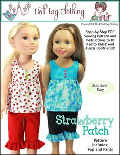 The Doll Tag Clothing Strawberry Patch 18 inch Doll clothes pattern. Fits Dollfriends Karito Kids and My Friend Cayla dolls. Toddler Dolls, Child Doll, Boy Doll, Kids Dolls, Ag Dolls, Doll Clothes Patterns, Pdf Sewing Patterns, Doll Patterns, Clothing Patterns