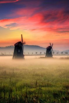 sundxwn: Foggy morning by Jaewoon U Holland Windmills, Old Windmills, Nature Pictures, Cool Pictures, Grand Art, Foggy Morning, Best Sunset, Le Moulin, Landscape Photos