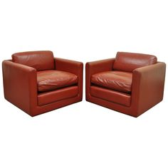 Pair of Red Leather Cube Club or Lounge Chairs after Harvey Probber on Casters | From a unique collection of antique and modern club chairs at https://www.1stdibs.com/furniture/seating/club-chairs/