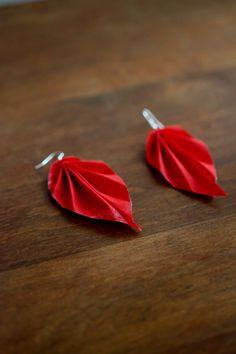 Red Origami Leaf Earrings Fabric Origami Folded by jewellerybijou, $9.00