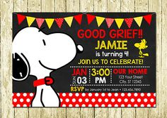 Snoopy Dog Puppy Printed Chalkboard Birthday Invitations