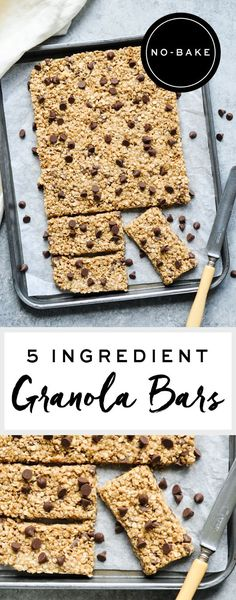No-Bake 5 Ingredient Granola Bars | eatlittlebird.com