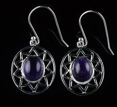 925 Sterling Silver Natural Amethyst Gemstone Handmade Earrings Jewelry #Handmade #DropDangle