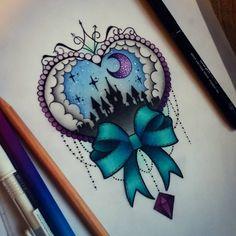 Disney Tattoo - Disney castle - My most beautiful tattoo list Girly Tattoos, Disney Tattoos, Body Art Tattoos, New Tattoos, Cool Tattoos, Tatoos, Rosary Tattoos, Bracelet Tattoos, Skull Tattoos