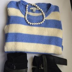 Light wide stripes sweater Light cream and blue, Nine West black suede booties listed separately Forever 21 Sweaters Crew & Scoop Necks