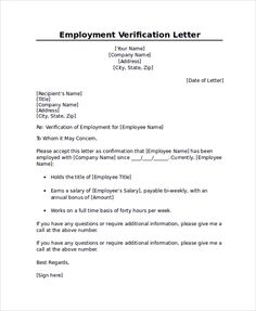 Employment verification letter sample templatesforms pinterest spiritdancerdesigns Images