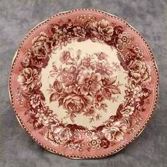 RED & CREAM TRANSFERWARE FLORAL COUNTRY TOILE PLATE