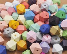 50pcs Painted Wood Beads,20mm Geometric Necklace Bead,Polyhedron Faceted Cube Wooden Beads,Colorful Beads,spacer bead,DIY,Jewelry Supply by fenfenaccessories on Etsy