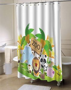 Zoo Cute shower curtain #showercurtain  #showercurtains  #curtain  #curtains  #bath  #bathroom  #funnycurtain  #cutecurtain