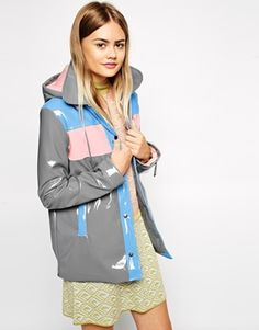 ASOS Rain Mac with High Shine Panel Detail... this jacket is hideous, but i love it