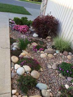 49 Pretty rock garden ideas on a budget – Garden Landscaping ideas - How to Make Gardening Landscaping With Rocks, Front Yard Landscaping, Backyard Landscaping, Backyard Ideas, Backyard Patio, Landscaping Design, Florida Landscaping, Gardening With Rocks, Easy Landscaping Ideas