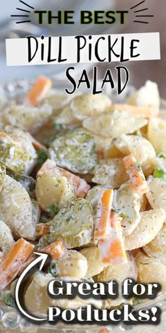 Calling all dill pickle lovers, this salad recipe is for you! This creamy Dill Pickle Pasta Salad is THE BEST and has the tangy flavour of crunchy pickles, fresh dill, cheese, mayo and sour cream. It's the perfect side for any BBQ or summer meal. Best Pasta Salad, Pasta Salad Recipes, Dill Pickle Pasta Salad Recipe, Pickles Recipe, Easy Salads, Summer Salads, Salads For Bbq, Side Dishes For Bbq, Soup And Salad