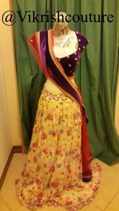 #crop-top#lehenga#desi-style#bollywood#kashmiri-lace#purple#velvet#mirror-work#