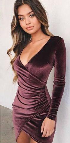 Ordifree 2017 Women Velvet Dress Elegant Ladies Short Mini Dress Long Sleeve V Neck Sexy Bodycon Dress Sexy Dresses, Cute Dresses, Beautiful Dresses, Dress Outfits, Evening Dresses, Short Dresses, Fashion Dresses, Party Outfits, Kohls Dresses