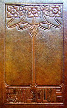 Antique Art nouveau leather book; arts and crafts, craftsman bungalow