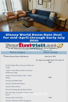Click thru for details about the new DISNEY WORLD HOTEL DEAL for  APRIL 18 THROUGH JULY 10, 2021.  The deal must be booked by May 27, 2021 and savings range from 15% to 30%.  | yourfirstvisit.net | #DisneyWorldTips #DisneyWorldDeals Disney World Hotel Deals, Disney Deals, Walt Disney World Vacations, Disney Money, Disney On A Budget, Disney World Planning, Disney Dining Plan, Disney Vacation Club, Resort Villa