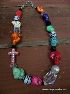Chunky Multi Color Bead Necklace With Small Pink Side Cross #SimplySadie
