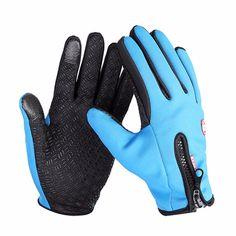 Waterproof Men Women Ski Warm Gloves Polyester Full Finger Screen Touch Driving Antiskid Glo ve