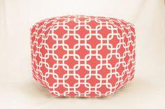 "24"" Floor Ottoman Pouf Pillow Coral & White - Gotcha Chainlink Contemporary Modern Print"