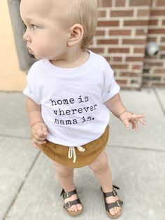 Home Is Wherever Mama Is Toddler Shirt Minimalistic and gender neutral tees are perfect baby shower Little Babies, Cute Babies, Baby Kids, Baby Girl Fashion, Kids Fashion, Baby Shower Gifts, Shower Baby, Cute Baby Clothes, Sons