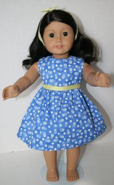 American Girl Doll Clothes  Blue Daisy Print by KathiesDollCloset, $8.49