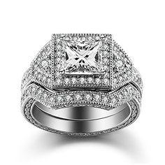 Caperci Sterling Silver Cubic Zirconia CZ Princess-Cut Halo Wedding Engagement Ring Set Size 10 http://www.amazon.com/Caperci-Sterling-Zirconia-Princess-Cut-Engagement/dp/B0184YJ8E2/ref=sr_1_41?s=apparel&ie=UTF8&qid=1449805141&sr=1-41&nodeID=7141123011&keywords=sterling+silver+engagement+ring