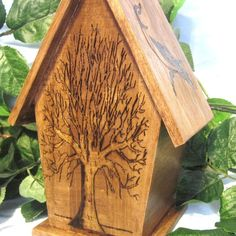 Rustic Hand Wood Burned Birdhouse.