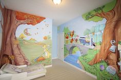 Winnie the Pooh mural for a child's room hand painted by Mural Magic in Ottawa.