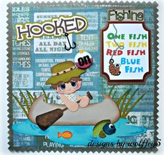 ELITE4U BOY FISH LAYOUT paper piecing premade scrapbook page album WOLFFEY5