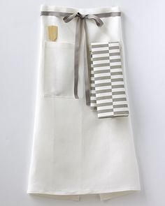 NEW! Café Apron Set, with Gio Stripe tea towel and a handcrafted wooden spatula.