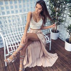 Two Piece Spaghetti Straps Pearl Pink Elastic Satin Prom Dress with Lace