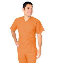200C Orange   Unisex V-Neck Top V- Neck Left Chest Pocket Set-in Sleeves   Xs - 5X  4.5oz