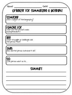 Graphic organizer for summarizing a biography. Library Lessons, Reading Lessons, Writing Lessons, Teaching Writing, Student Teaching, Reading Strategies, Reading Skills, Teaching Social Studies, Writing Activities